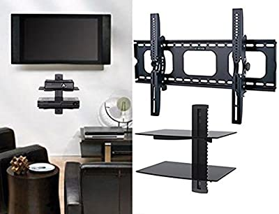 2xhome - TV Wall Mount with Shelf Up to 85 inches tv Floating Shelf with Strengthened Tempered Glass for DVD Players/Cable Boxes/Games Consoles/TV Accessories, 2 Shelf, Black