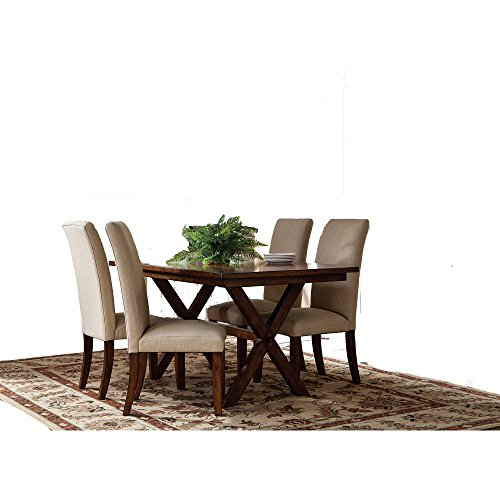 Casual Dining Set Of 5 Pieces With Metal Hardware And Solid Wood In Off-White plus FREE GIFT