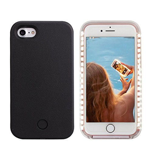 iPhone 8 Led Case - LONHEO iPhone 8 Illuminated Cell Phone Case Great for a Bright Selfie and Facetime Light Up Case Cover for iPhone 7 4.7 with a Free Phone Holder - Black