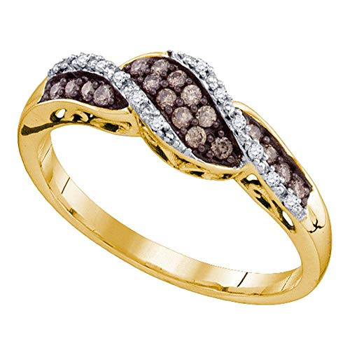 - Mia Diamonds 10k Yellow Gold Womens Round Chocolate brown Color Enhanced Diamond Band Ring (.20 cttw.) (I2-I3 clarity; Brown color)