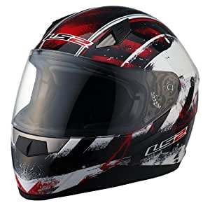 LS2 Helmets FF384 Full Face Motorcycle Helmet with Asphalt Graphic (Red/Black/White, X-Small)