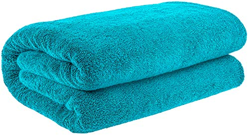 40x80 Inches Jumbo Size, Thick and Large 650 GSM Bath Sheet Cotton, Luxury Hotel & Spa Quality, Absorbent and Soft Decorative Kitchen and Bathroom Turkish Towels, Aqua Ocean (Long Towels Extra Bath)