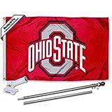 Ohio State Buckeyes Athletic Flag with Pole and Bracket Kit