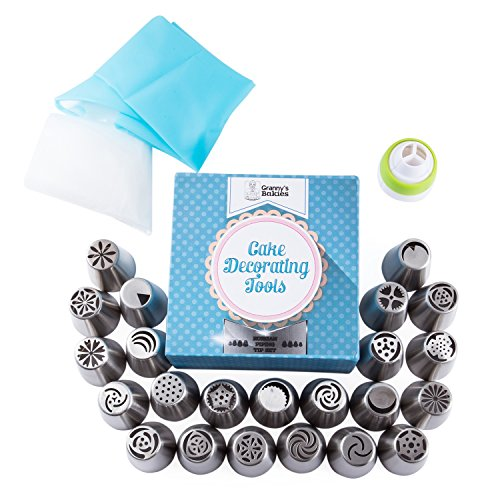 Russian Piping Tips 28 Pcs/Set-Stainless Steel Icing Nozzles Decoration Tools Create Flowers for Cakes, Pies, Cookies and Pastries (23 Tips, 1 Coupler, 1 silicone pastry bag, 3 disposable pastry bags)