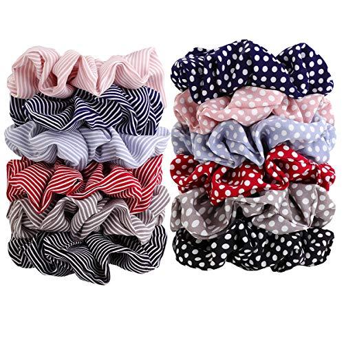 - Wooyaya 12pcs Polka Dot and stripe Hair ties Elastics Scrunchies Hair Bands Ties Accessories for Women Girls