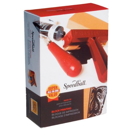 Speedball Super Value Block Printing Starter Kit - Includes Ink, Brayer, Lino Handle and Cutters, Speedy-Carve by Speedball