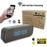 MVOWIZON Alarm Clock with Camera M1 WIFI Control Full HD 1080P Spy Camera Motion Detection Alarm Wireless IP Security Camera Nanny Cam Black