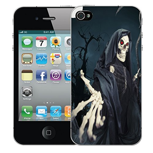 Mobile Case Mate iPhone 4 Silicone Coque couverture case cover Pare-chocs + STYLET - Skull Reeper pattern (SILICON)