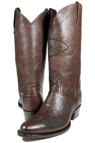 NFL Kansas City Chiefs Men's Traditional Toe Western Boot, Brown, 8 by Old Pro Leathers