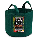 Soft Pots (5 Gallon) (5 Pack) Forest Green. Best Aeration Pots and Grow Bags from Maui Mike's. Made of Thicker Material with Sewn Handles for Easy Moving. Grow Healthier Tomatoes, Herbs and Veggies.