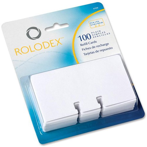 ROL67558 - Rolodex Plain Unruled Refill Card