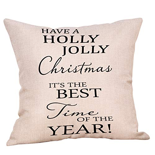 Softxpp Have a Holly Jolly Christmas It's The Best Time of The Year Throw Pillow Cover Rustic Christmas Sign Winter Holiday Decor Cushion Case Decorative for Sofa Couch 18