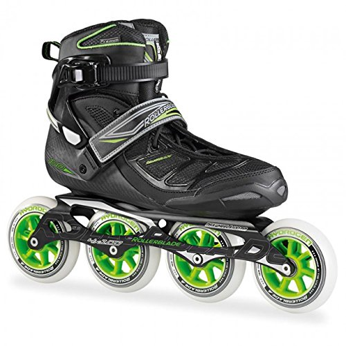 Rollerblade New 2015 Tempest 100C Premium Fitness Skate with 4x100mm US Made Hydrogen Wheels - SG9 Bearings, Black/Green, US Men 10.5