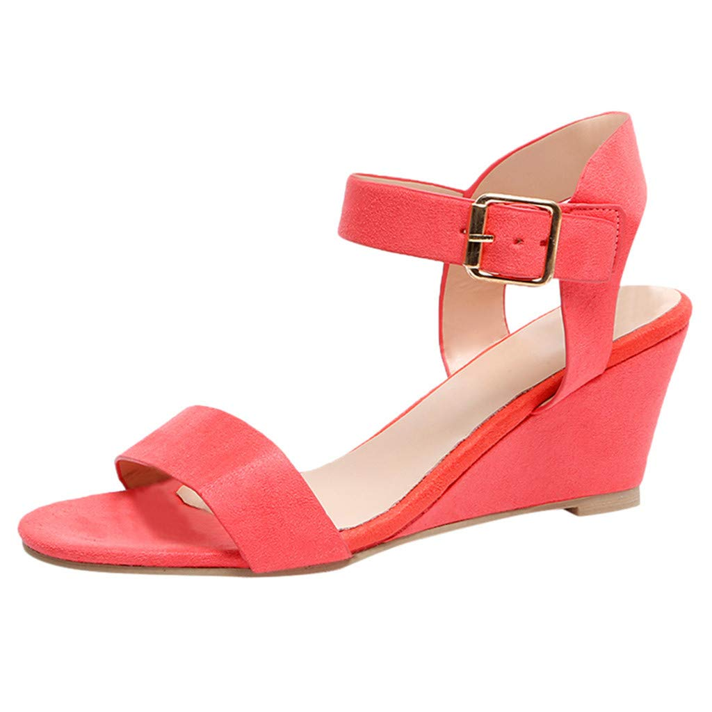Mysky Fashion Women Summer Roman Buckle Strap Wedges Heel Shoes Ladies Brief Solid Color Fish Mouth Sandals