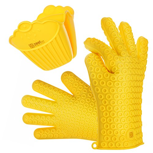 Zestkit 2-Piece Heat Resistant Gloves Silicone BBQ Grill & Pot Holder Set, Mini Handle & Assist Handle, Oven Mitt (Yellow)