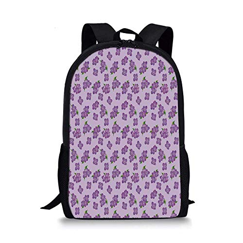 Mauve Decor Stylish School Bag,Kitsch Botany Flower Field Patter with Perennial Florets Design for Boys,11''L x 5''W x 17''H