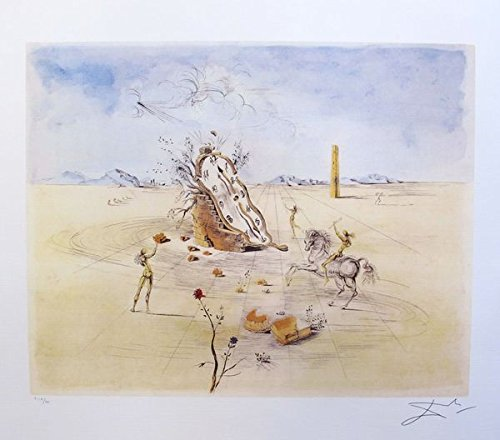 Artwork by Salvador Dali Cosmic Horseman Limited Edition Facsimile Signed Lithograph Print. After the Original Painting or Drawing. Measures 24 Inches X 22 Inches