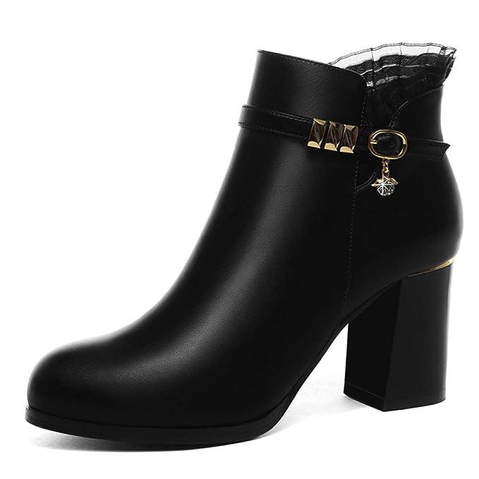 HGDR Mujeres Invierno Cálido Negro Botines De Cuero Forro Polar Bloque Zapatos De Tacón Oficina De Trabajo Zapatos De Fiesta Punta Redonda Botas Cortas: ...