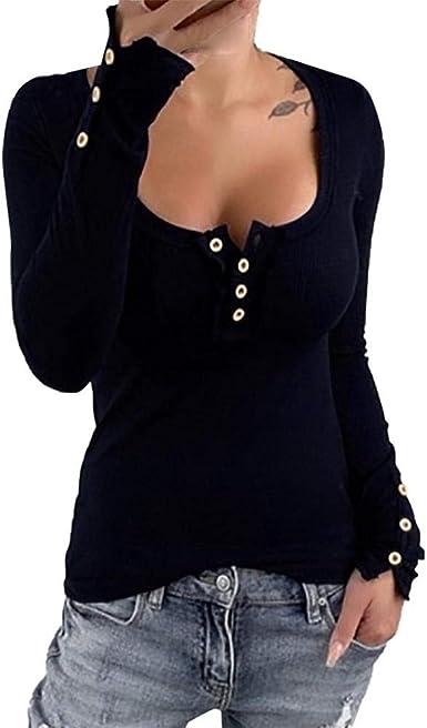 VJGOAL Tops de Manga Larga para Mujer Botones de Cuello Cuadrado Tallas Grandes Moda Casual Color sólido Camisetas con Fondo Sexy Versión Coreana Blusa Delgada: Amazon.es: Ropa y accesorios