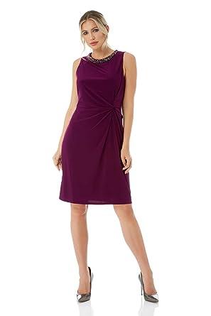 3ce5ced2cd756 Roman Originals Femme Robe Droite avec Col Perlés Moulant - Ceremonie  Soirée Chic Robes de Mariage