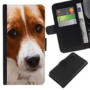 eJoy---La carpeta del tirón la caja de cuero de alta calidad de la PU Caso protector - Sony Xperia Z3 D6603 - --Border Collie Dog Pet Canine Cute
