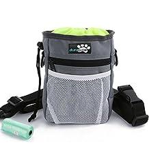 Dog Treat Bag & Training Pouch by DuraPaw™ - Built-in Poop Bag Dispenser - Flex Metal Clip, Belt or Shoulder Strap (Medium, Sage)