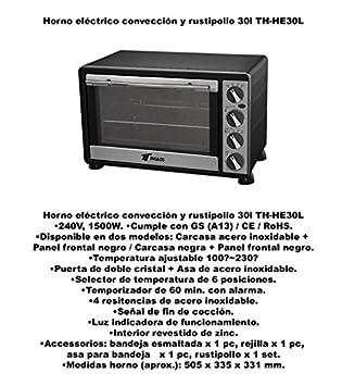 HORNO 30L.COV.RUST. HE30BK NG.: Amazon.es: Juguetes y juegos