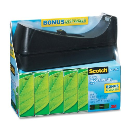 Scotch Brand Magic Greener Tape with C38 Desktop Dispenser, Standard Width, The Original, Engineered for Office and Home Use, 3/4 x 900 Inches, Boxed, 6 Rolls, 1 Dispenser (812-6PC38)