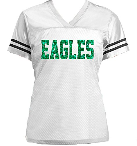 Eagles Glitter Jersey- or customize with your favorite team - Football, Emerald Green White or Choose Colors by Bow Flip Flops