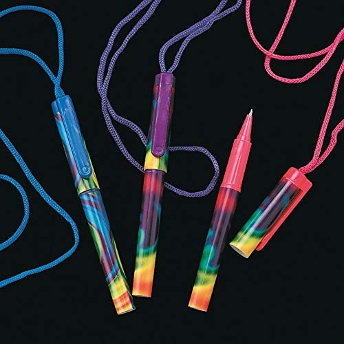 Fun Express - TiE-Dyed Pen On A Rope - Stationery - Pens - Pen Necklaces - 12 Pieces