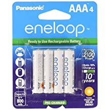 Panasonic BK-4MCCA4BA Eneloop AAA 2100 Cycle Ni-MH Pre-Charged Rechargeable Batteries, Pack of 4 - BK4MCCA4BF
