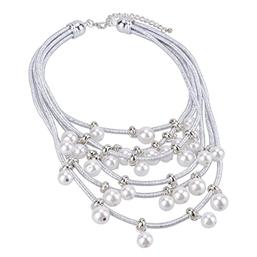 NEOWOO Pendant Pearls Choker Big Chunky Collar Bib Necklace Multi-Row Strand Fashion Jewelry for Women Girls (Silver) by NEOWOO (Image #3)