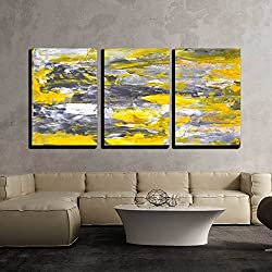 "wall26 - 3 Piece Canvas Wall Art - Grey and Yellow Abstract Art Painting - Modern Home Decor Stretched and Framed Ready to Hang - 16""x24""x3 Panels"