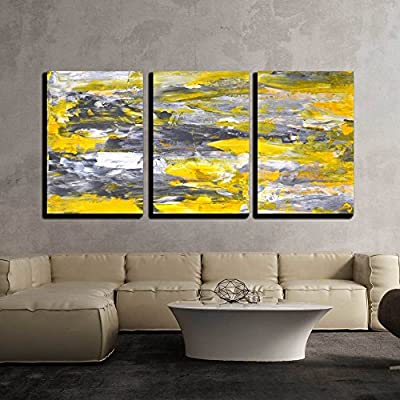 3 Piece Canvas Wall Art - Grey and Yellow Abstract Art Painting - Modern Home Art Stretched and Framed Ready to Hang - 16