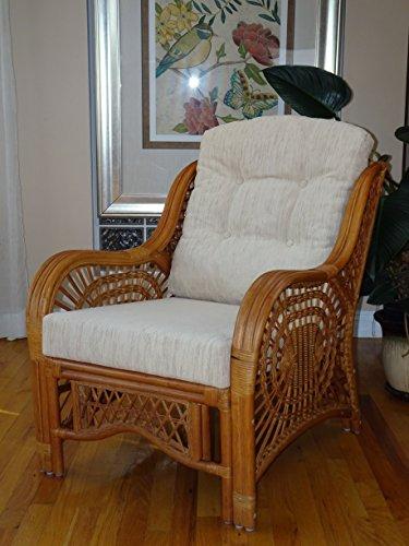 Malibu Design Natural Rattan Handmade Wicker Colonial Lounge Chair with Cream Cushion