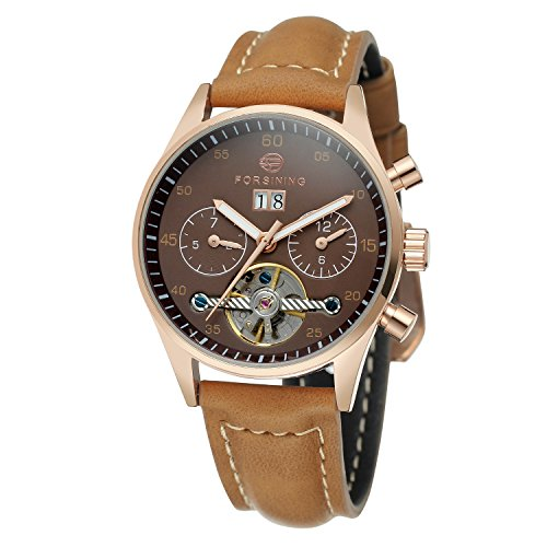 Forsining Women's Automatic Self-winding Day Calendar Leather Brand Collection Wrist Watch FSL691M3R1 (Women Watch Wrist Winding)