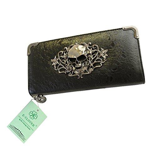 Herebuy - Cool Retro Skull Wallet for Women Vintage Clutch Bag (Black) (Skull Purse)