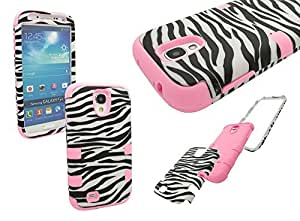 PINK - Zebra Stripes Rose Black (Durable Dual Layer) for Samsung Galaxy S4 Touch Phone (Thick Silicone Out Gel and Tough Rubberized Internal Shell