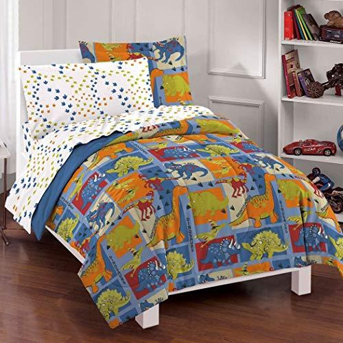 7 Piece Boys Dinosaur Themed Comforter Full Set, Cute All Over Patchwork Dino Bedding, Fun Multi Foot Print Pattern, Brontosaurus TRex Raptor Triceratops Stegosaurus, Blue Red Orange Green