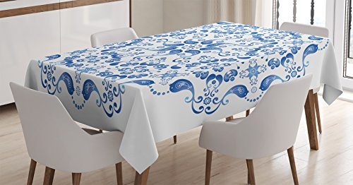 Ambesonne Mandala Decor Tablecloth, Eastern Ottoman Turkish Mosaic Ceramic Style Artsy Round Shape with Birds Baroque Image, Dining Room Kitchen Rectangular Table Cover, 60 X 90 inches, Blue White (Ideas Tabletop Mosaic)