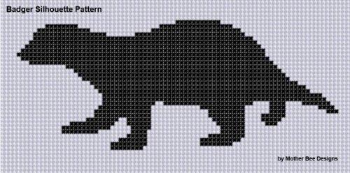 Badger Silhouette Cross Stitch Pattern