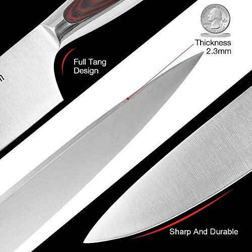 LauKingdom Chef Knife, High-carbon Stainless Steel Blade Multipurpose Chefs Knives with Sharp Straight Edge for Chopping, Mincing, Slicing and Dicing, 8-Inch Kitchen Knife by LauKingdom (Image #2)