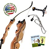 KESHES Takedown Hunting Recurve Bow and Arrow - 62' Archery Bow for Teens and Adults, 15-55lb Draw Weight - Right and Left Handed, Archery Set Bowstring Arrow Rest Stringer Tool Sight, Instructions