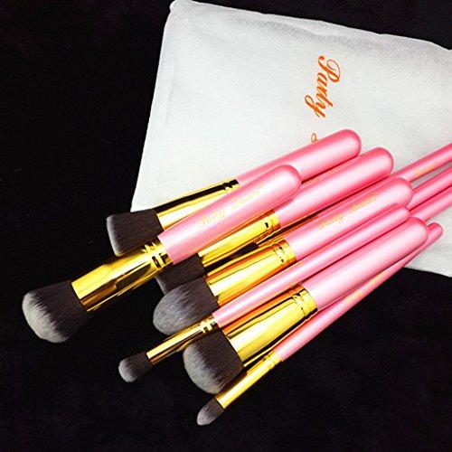 10 Stück Make Up Pinsel Set Kosmetikpinsel Kabuki Pinsel Set Make-up Bürsten Werkzeug Zubehör Kit Set für Grundierung (Puder, Cremige oder Flüssige ) Concealer Augenbrauen Schatten mit Kosmetiktasche