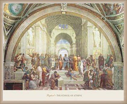 ポスター ラファエロ サンティ アテネの学堂 額装品 ウッドベーシックフレーム(オフホワイト) B0031IXRTY オフホワイト オフホワイト