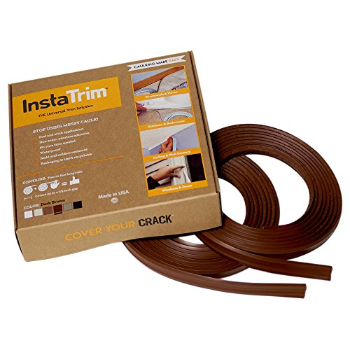 InstaTrim - Universal, Flexible, Adhesive Trim Solution - Cover Gaps Between Walls, Floors, Ceilings, and More (Dark Brown), Pack of ()
