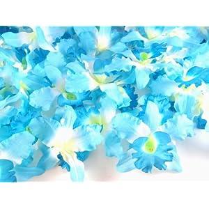 """(100) Blue Hawaiian Cattleya Silk Flower Heads - 3.5"""" - Artificial Flowers Heads Fabric Floral Supplies Wholesale Lot for Wedding Flowers Accessories Make Bridal Hair Clips Headbands Dress 5"""