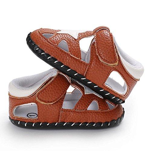 Jamicy® Baby Sandalen, Kleinkind Jungen Mädchen Sterne Sommer Leder Closed Toe Anti-Rutsch-Sandalen Schuhe Braun