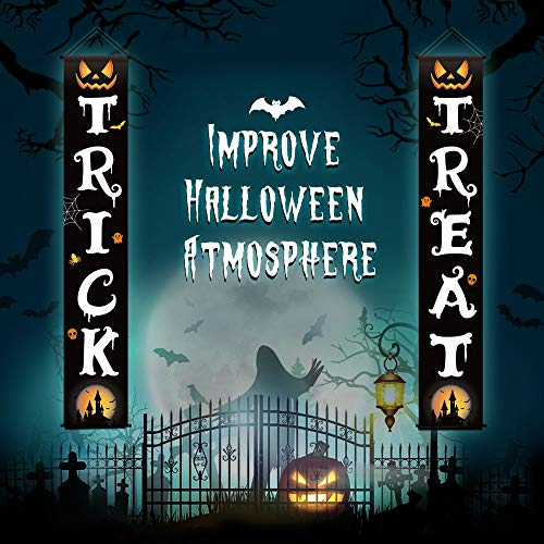 Cysincos 3pcs Trick or Treat Halloween Banner, Outdoor Halloween Decorations Halloween Welcome Signs, Halloween Party Banners for Home Office