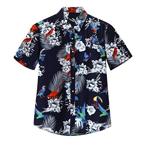iHPH7 Shirts Summer Tropical Hawaiian Multi Color Lump Chest Pocket Short Sleeve Round Hem Loose Blouse Men (3XL,8- Black)]()